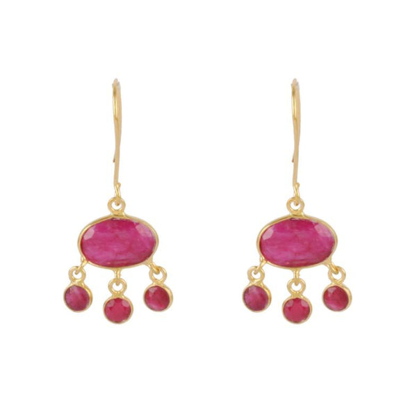 Gold Amber Drop Earrings with Ruby Red Sillimanite - Lulu B Jewellery