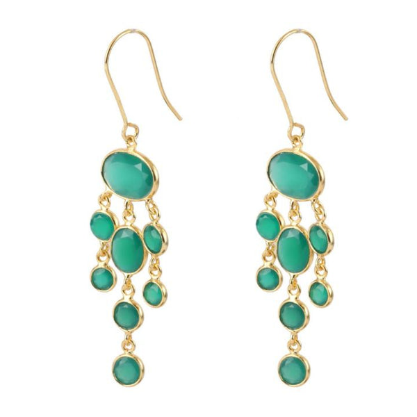 Gold Amberley Drops with Green Onyx - Lulu B Jewellery