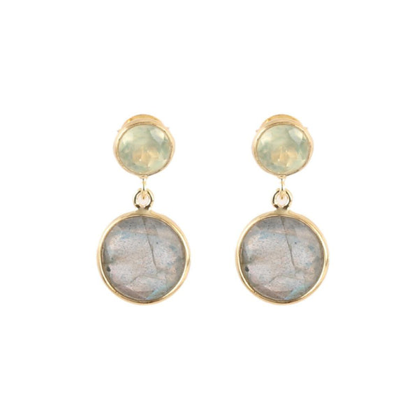 Gold Belle Stud Drop Earrings with Prehnite and Labradorite - Lulu B Jewellery