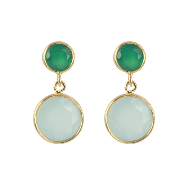 Gold Aqua Stud Drop Earrings with Green Onyx and Aqua Chalcedony - Lulu B Jewellery