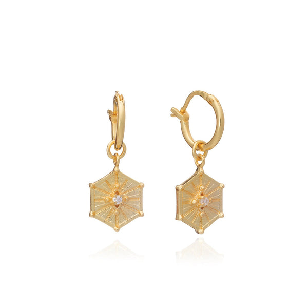 Gold Aurora Hoops with Cubic Zirconia - Lulu B Jewellery