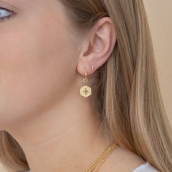 Gold Aurora Hoops with Iolite - Lulu B Jewellery