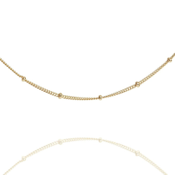 "Gold Beaded 14"" Chain Choker Necklace - Lulu B Jewellery"