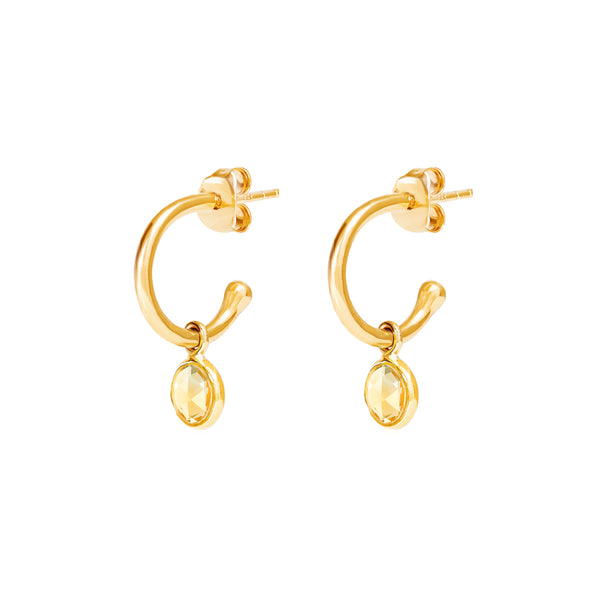 Gold Birthstone Hoop Earrings with Citrine - Lulu B Jewellery