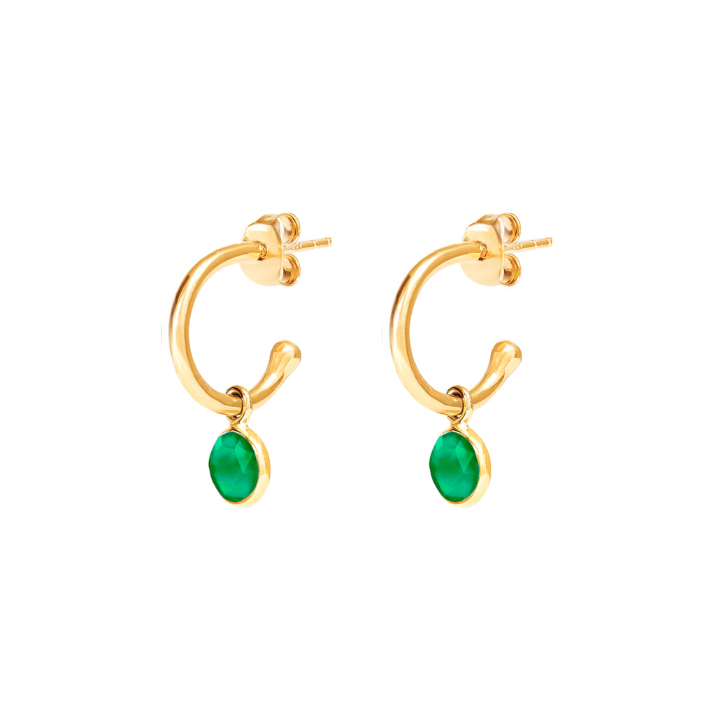 Gold Birthstone Hoop Earrings with Emerald Quartz - Lulu B Jewellery
