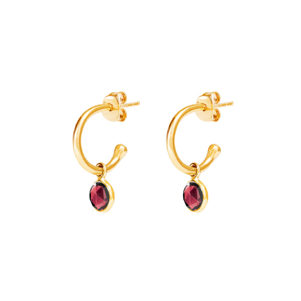 Gold Birthstone Hoop Earrings with Garnet - Lulu B Jewellery