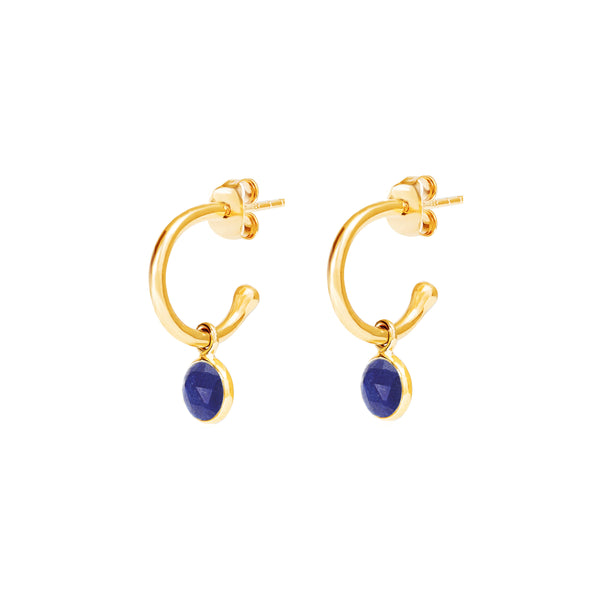 Gold Birthstone Hoop Earrings with Lapis Lazuli - Lulu B Jewellery
