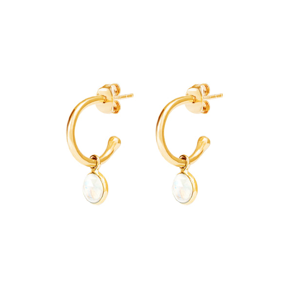 Gold Birthstone Hoop Earrings with Moonstone - Lulu B Jewellery