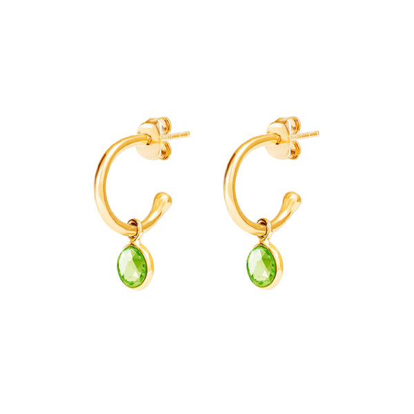 Gold Birthstone Hoop Earrings with Peridot - Lulu B Jewellery