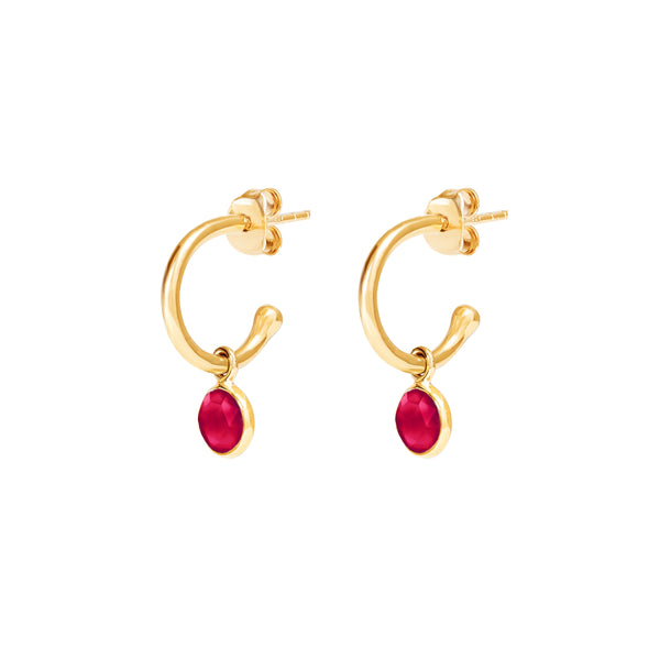 Gold Birthstone Hoop Earrings with Ruby Quartz - Lulu B Jewellery