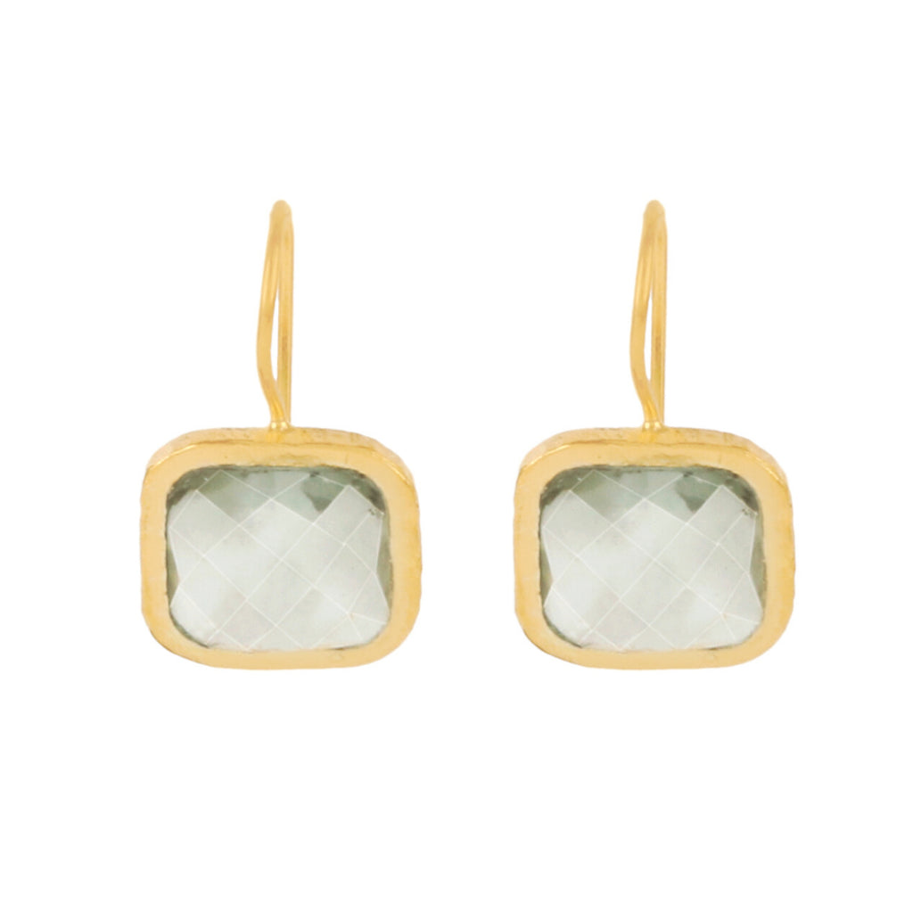 Gold Bloomsbury Drops with Green Amethyst - Lulu B Jewellery