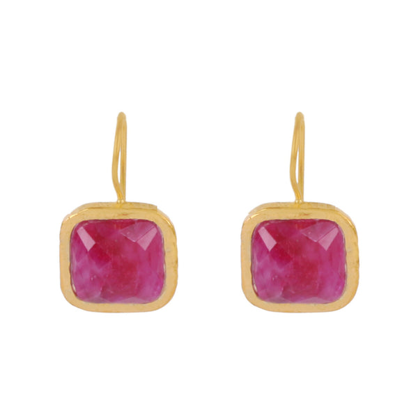 Gold Bloomsbury Drops with Ruby Red Sillimanite - Lulu B Jewellery