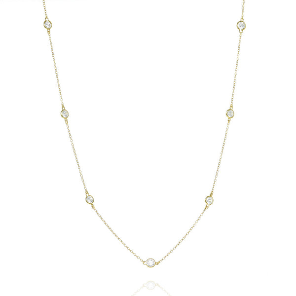 Gold Brompton Chain Necklace with Cubic Zirconia - Lulu B Jewellery