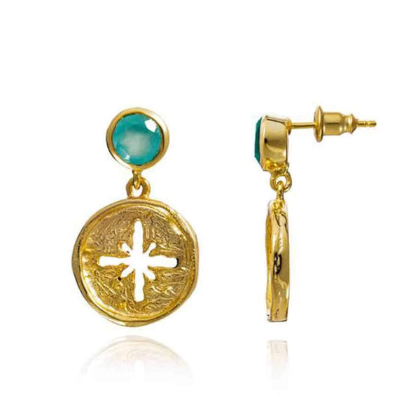 Gold Canterbury Drop Studs with Aqua Chalcedony - Lulu B Jewellery