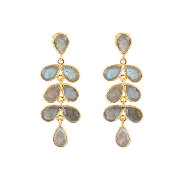 Gold Charlie Drop Earrings with Labradorite - Lulu B Jewellery