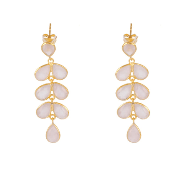 Gold Charlie Drop Earrings with Rose Quartz - Lulu B Jewellery