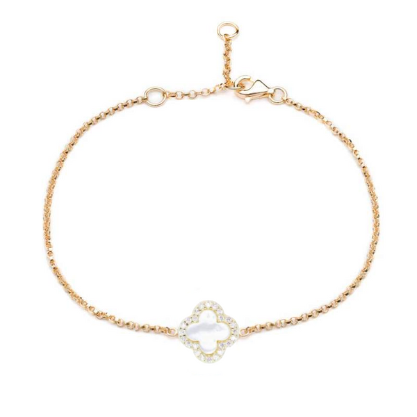 Gold Clover Bracelet with Mother of Pearl - Lulu B Jewellery