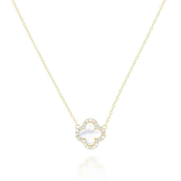 Gold Clover Necklace with Mother of Pearl - Lulu B Jewellery