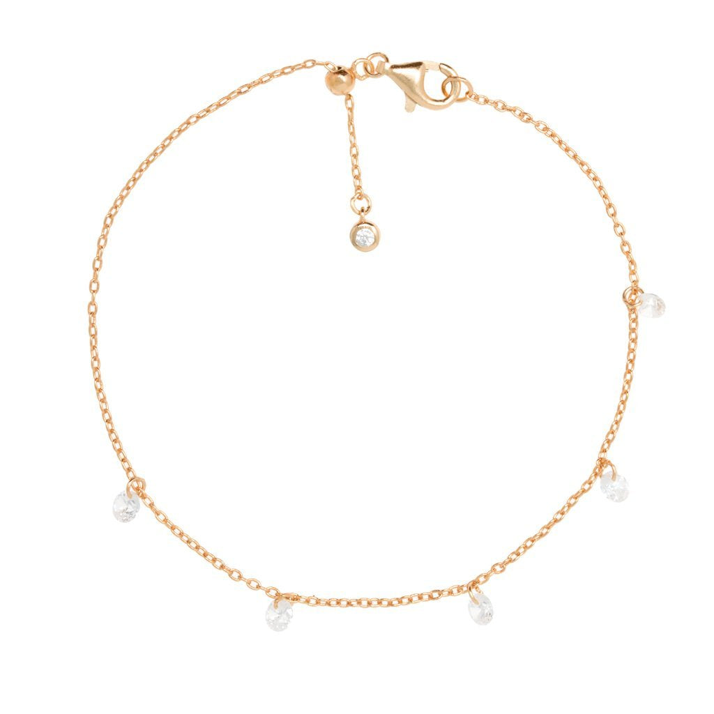 Rose Gold Cordelia Bracelet with Cubic Zirconia - Lulu B Jewellery