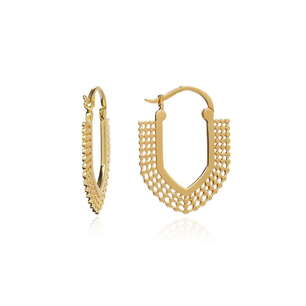 Gold Helio Tribal Hoops - Lulu B Jewellery