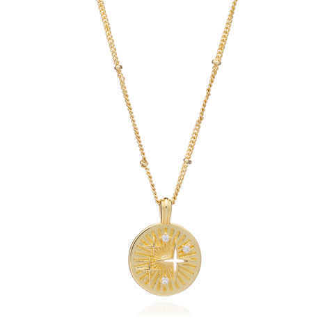 Gold Luna Necklace with Cubic Zirconia - Lulu B Jewellery