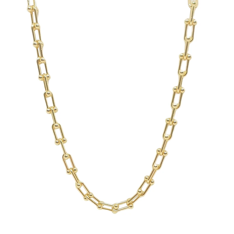 "Gold Marlborough Chain Necklace 18"" - Lulu B Jewellery"
