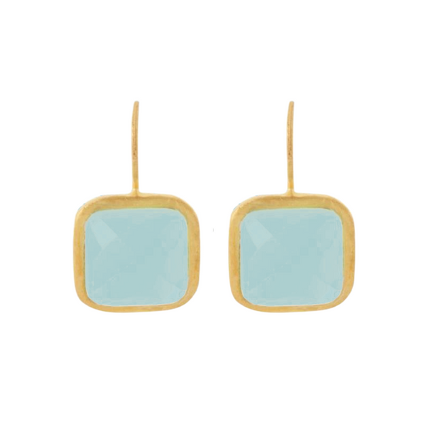 Gold Bloomsbury Drops with Aqua Chalcedony - Lulu B Jewellery