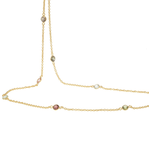 Gold Willow Necklace (Long) with Tourmaline - Lulu B Jewellery