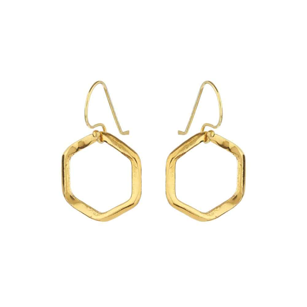 Gold Hex Drop Earrings - Lulu B Jewellery