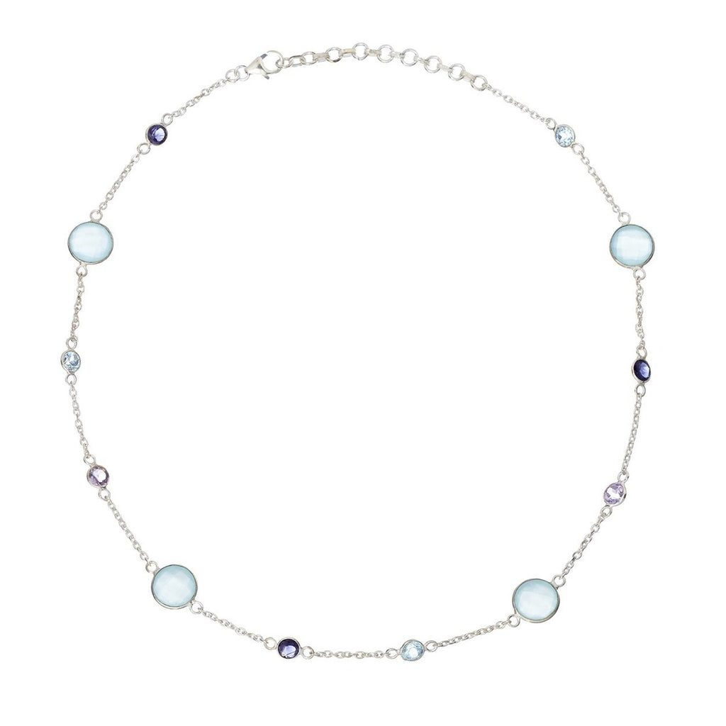 Silver Primrose Necklace with Aqua Chalcedony - Lulu B Jewellery