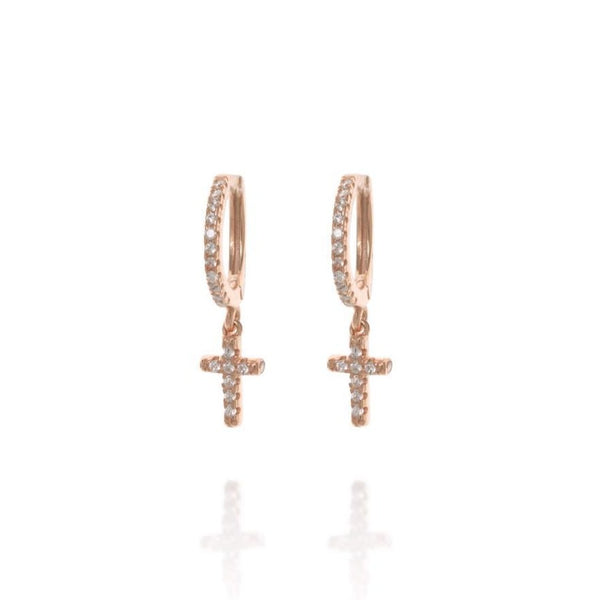 Rose Gold Berkeley Hoop Earrings with Hanging Cross - Lulu B Jewellery