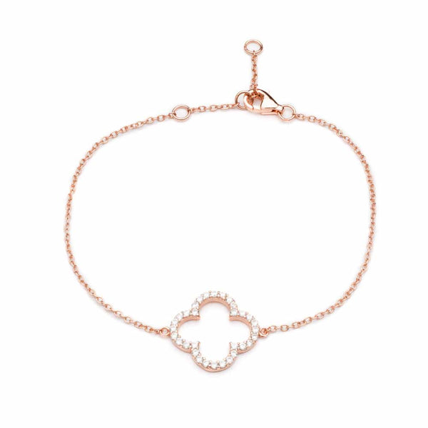 Rose Gold Clover Bracelet with Cubic Zirconia Stones - Lulu B Jewellery