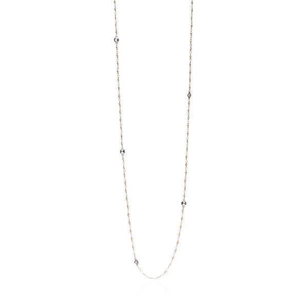Silver Lucia Necklace with Pearl and Cubic Zirconica - Lulu B Jewellery