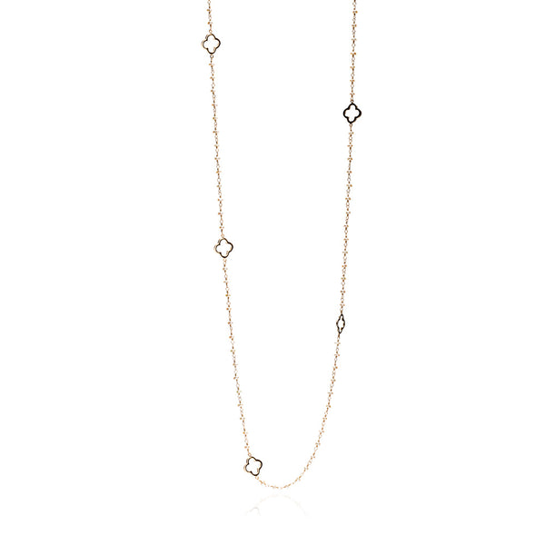 Gold Clover Necklace with Small Pearl Chain (Long) - Lulu B Jewellery