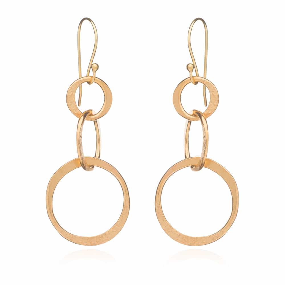 Gold Trinity Drop Earrings - Lulu B Jewellery
