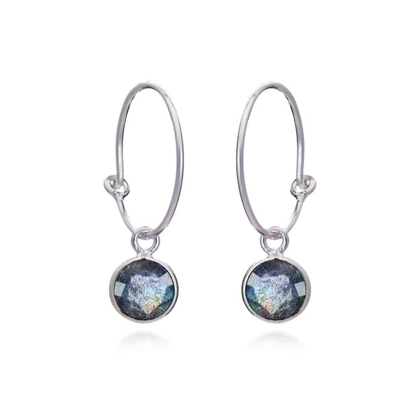 Silver Holloway Hoop Earrings with Labradorite - Lulu B Jewellery