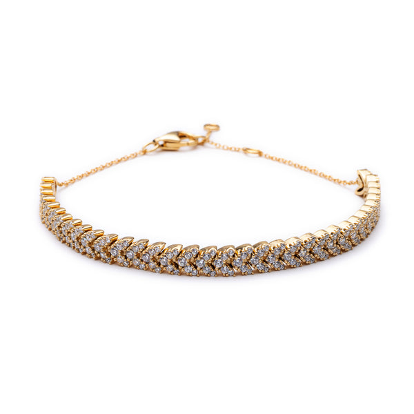 Gold Highbury Bracelet with Cubic Zirconia - Lulu B Jewellery