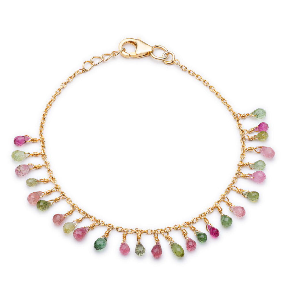 Gold Valencia Bracelet with Multi-coloured Tourmaline - Lulu B Jewellery