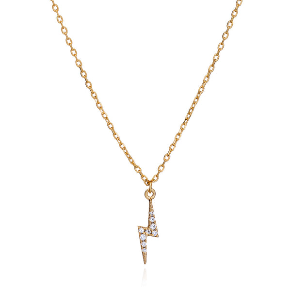 Gold Lightning Necklace with Cubic Zirconia - Lulu B Jewellery