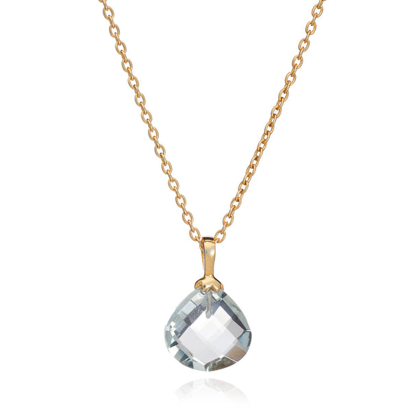 Gold Athena Necklace with Green Amethyst - Lulu B Jewellery