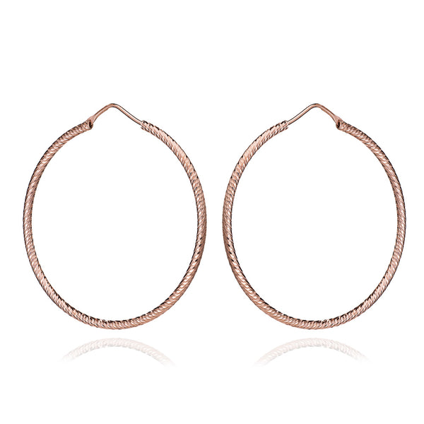Rose Gold Diamond Cut Holly Hoop Earrings (Large) - Lulu B Jewellery