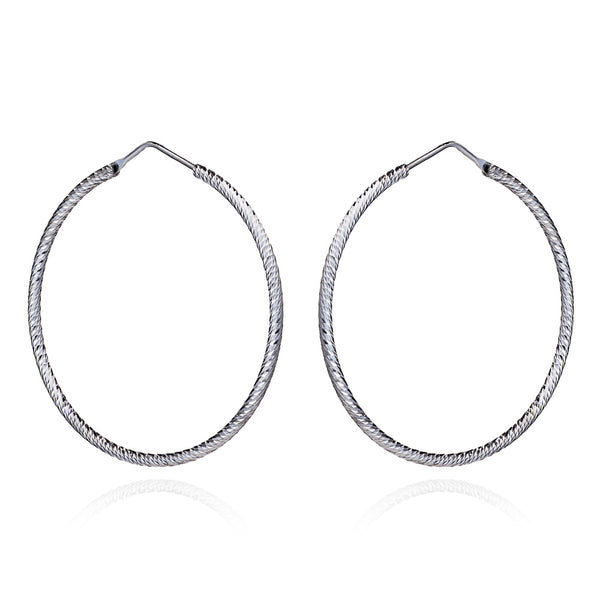 Silver Holly Diamond Cut Hoop Earrings (Large) - Lulu B Jewellery