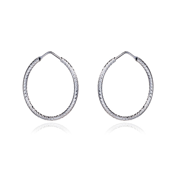 Silver Holly Diamond Cut Hoop Earrings (Medium) - Lulu B Jewellery