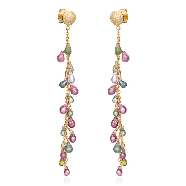 Gold Valencia Drop Stud Earrings with Multi-coloured Tourmalines - Lulu B Jewellery