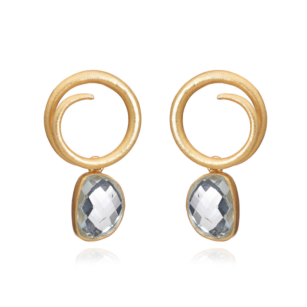 Gold Annabelle Drops with Green Amethyst - Lulu B Jewellery