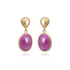 Gold Lucinda Drop Earrings with Ruby - Lulu B Jewellery