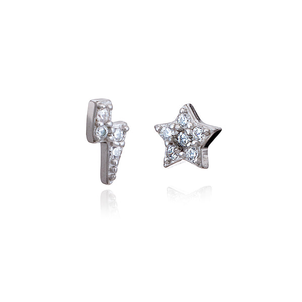 Silver Mini Lighting & Star Stud Earrings with Cubic Zirconia - Lulu B Jewellery