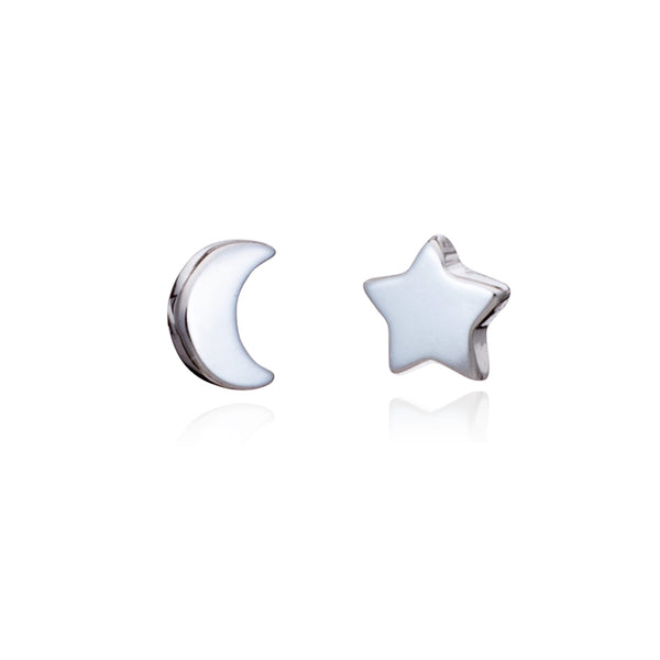 Silver Moon/Star Mini Stud Earrings - Lulu B Jewellery