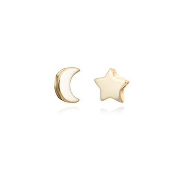 Gold Moon/Star Mini Stud Earrings - Lulu B Jewellery