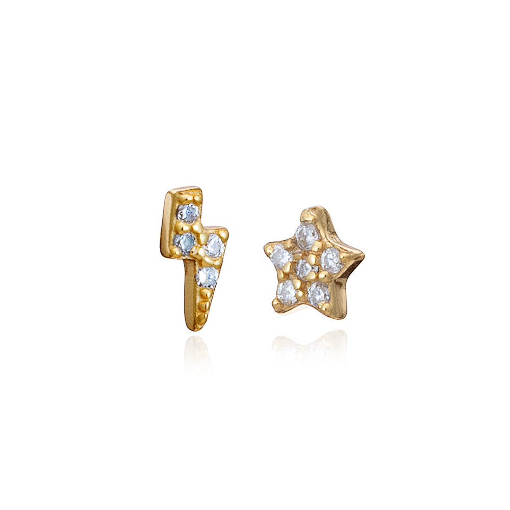 Gold Mini Lighting & Star Stud Earrings with Cubic Zirconia - Lulu B Jewellery